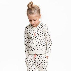 H&M Black & White Polka-Dot Hoodie